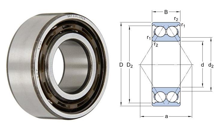 3308ATN9/C3 SKF Double Row Angular Contact Ball Bearing 40x90x36.5mm image 2