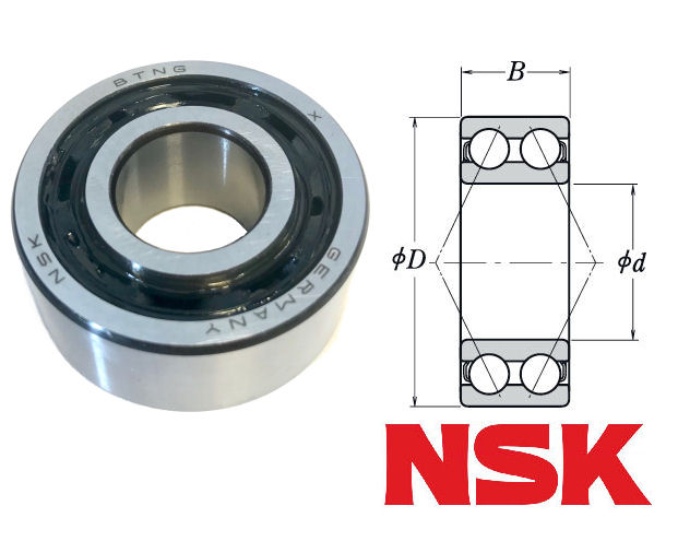 3202BTN NSK Double Row Angular Contact Ball Bearing 15x35x15.9mm image 2