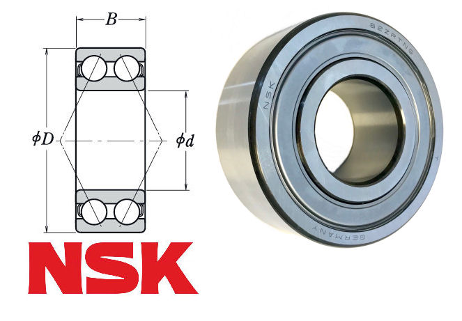 3205B-2ZTN NSK Double Row Angular Contact Ball Bearing 25x52x20.6mm image 2