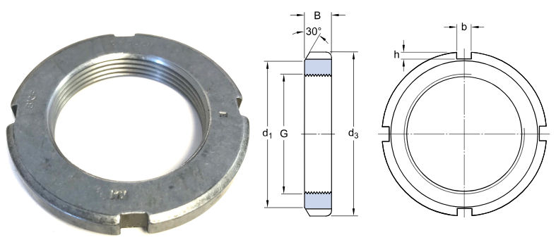 KM1 SKF Lock Nut M12x1mm image 2