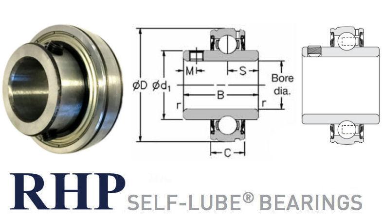 1017-1/2G RHP Spherical Outside Bearing Insert 1/2 inch Bore image 2
