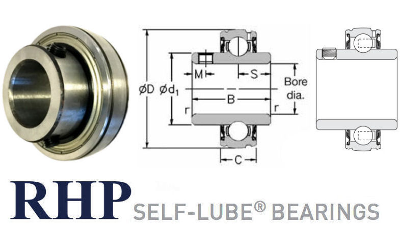 1017-16G RHP Spherical Outside Bearing Insert 16mm Bore image 2