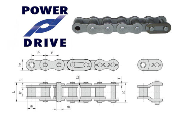 Power Drive 16B-1 BS Simplex Roller Chain 1 Inch Pitch image 2