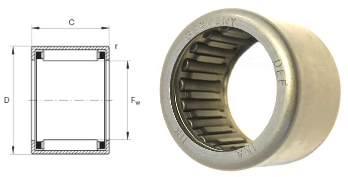 HK2816 INA Drawn Cup Needle Roller Bearing 28x35x16mm image 2