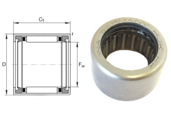 HK0812-2RS-FPM-DK-B-L178 INA Sealed Drawn Cup Needle Roller Bearing 8x12x12mm image 2