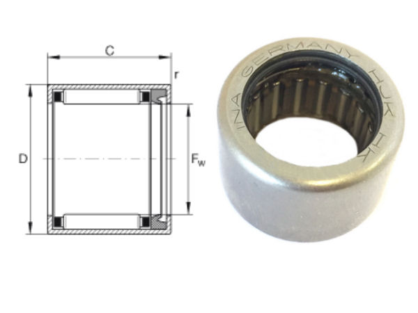 HK2818-RS INA Sealed Drawn Cup Needle Roller Bearing 28x35x18mm image 2