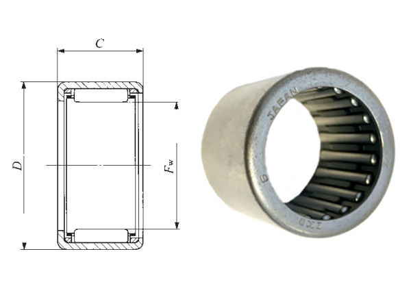 TLA2212Z IKO Shell Type Needle Roller Bearing 22x28x12mm image 2