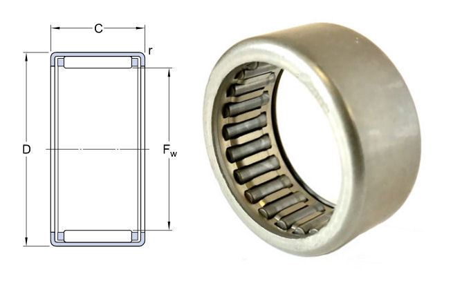 HK1712 Budget Brand Drawn Cup Needle Roller Bearing 17x23x12mm image 2