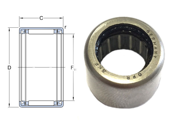 HK2020-2RS SKF Sealed Drawn Cup Needle Roller Bearing 20x26x20mm image 2