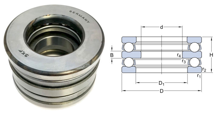 52205 SKF Double Direction Thrust Ball Bearing 20x47x28mm image 2