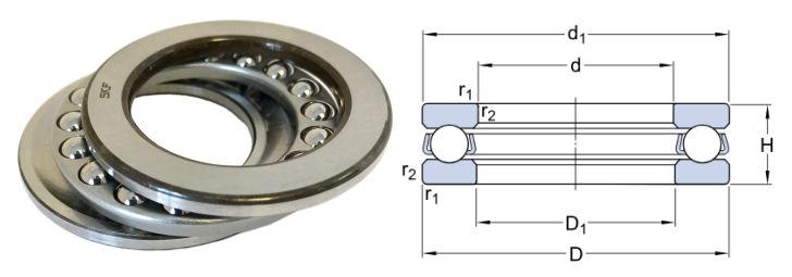 51111 SKF Single Direction Thrust Ball Bearing 55x78x16mm image 2