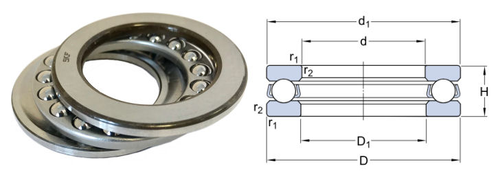 51122 SKF Single Direction Thrust Ball Bearing 110x145x25mm image 2