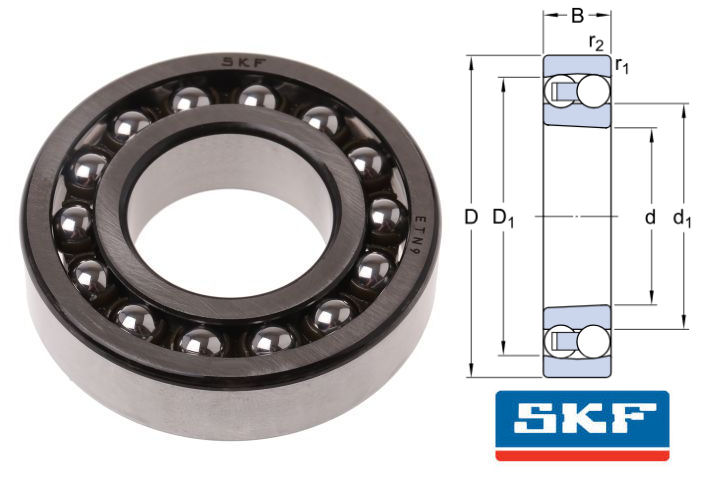 1205EKTN9 SKF Self Aligning Ball Bearing with Tapered Bore 25x52x15mm image 2