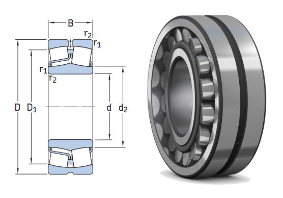 22211E SKF Spherical Roller Bearing with Cylindrical Bore 55x100x25mm image 2