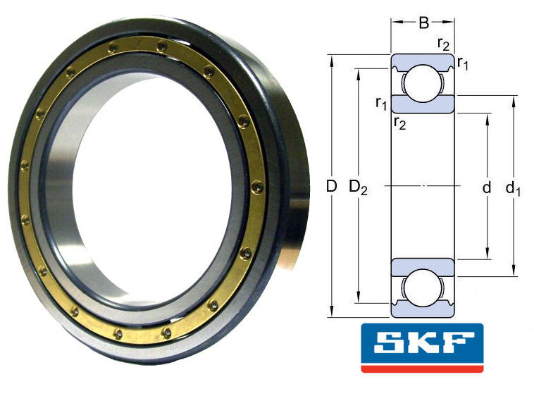 6044M/C3 SKF Open Deep Groove Ball Bearing With Brass Cage 220x340x56mm image 2