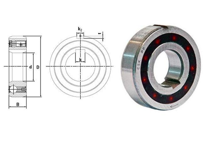 CSK25PP Budget Brand Sprag Clutch Bearing with Internal and External Keyways 25x52x15mm image 2