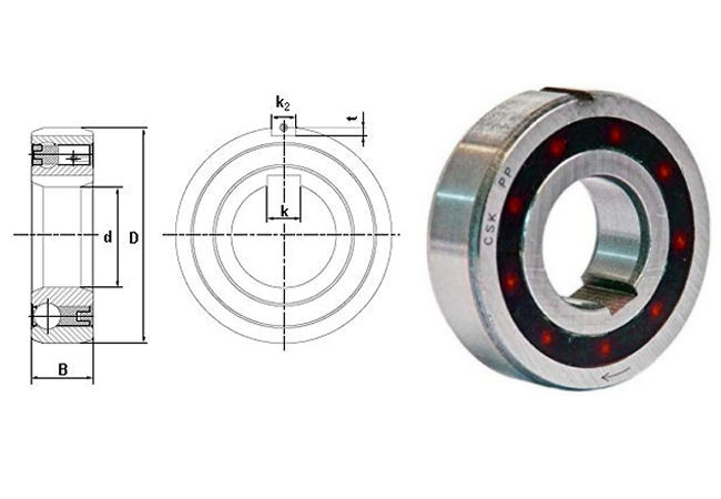 CSK40PP Budget Brand Sprag Clutch Bearing with Internal and External Keyways 40x80x22mm image 2