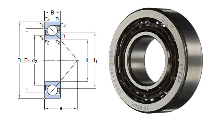 7309BECBP SKF Single Row Universally Matchable Angular Contact Bearing 45x100x25 image 2