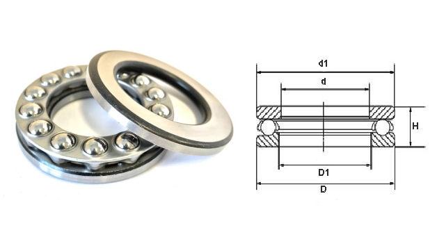 51122 Budget Brand Single Direction Thrust Ball Bearing 110x145x25mm image 2