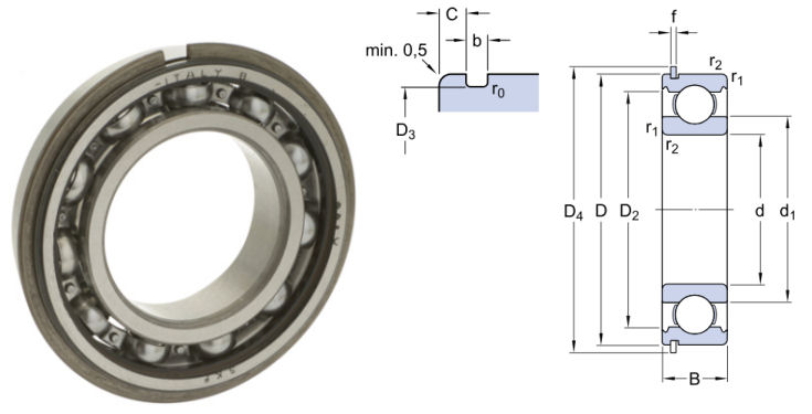 6309NR SKF Open Deep Groove Ball Bearing with Circlip Groove and Circlip 45x100x25mm image 2