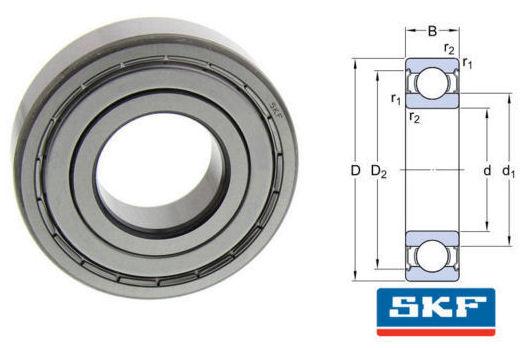 6016-2Z SKF Metric Shielded Deep Groove Ball Bearing 80x125x22mm image 2