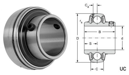 UC206-20 Budget Brand Spherical Outside Bearing Insert 1.1/4 inch Bore image 2
