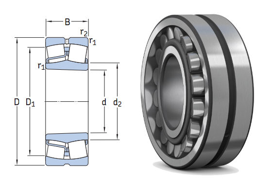 22211EK SKF Spherical Roller Bearing with Tapered Bore 55x100x25mm image 2