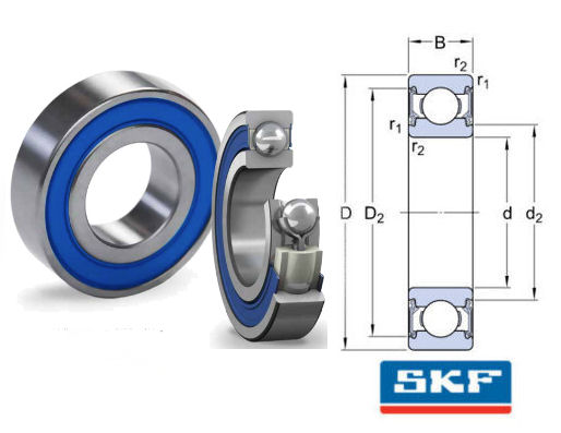 W6002-2RS1/VP311 SKF Sealed Stainless Steel Deep Groove Ball Bearing 15x32x9mm image 2