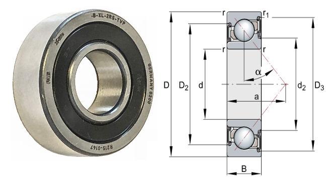 7208-B-2RS-TVP FAG X Life Sealed Angular Contact Bearing 40x80x18mm image 2