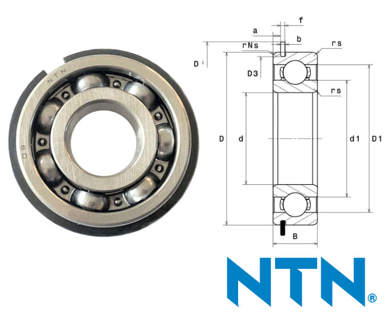 62/22NR NTN Open Deep Groove Ball Bearing with Circlip Groove and Circlip 22x50x14mm image 2