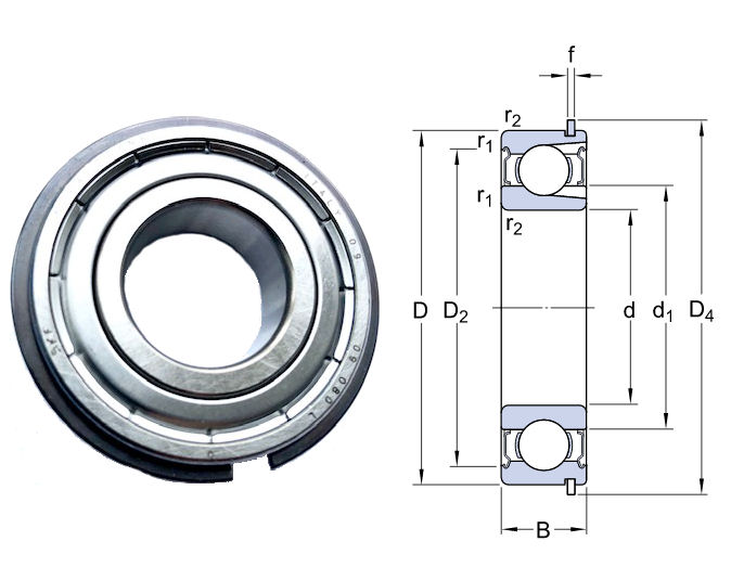 6206-2ZNR SKF Shielded Deep Groove Ball Bearing with Circlip Groove and Circlip 30x62x16mm image 2