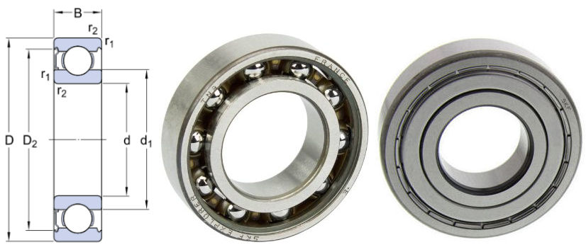 6001-ZTN9/LT SKF Low Temp Deep Groove Ball Bearing with Metal Shield Polymide Cage 12x28x8mm image 2
