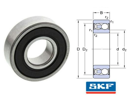 2202E-2RS1TN9/C3 SKF Sealed Self Aligning Ball Bearing 15x35x14mm image 2