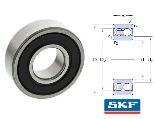 2203E-2RS1TN9/C3 SKF Sealed Self Aligning Ball Bearing 17x40x16mm image 2
