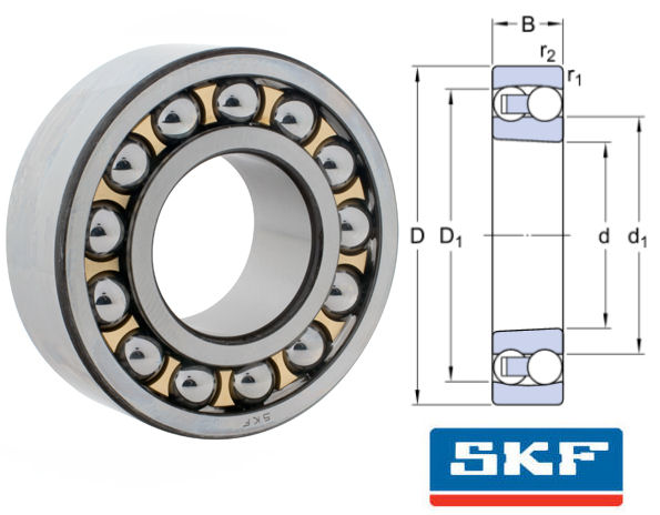 2222KM SKF Self Aligning Ball Bearing with Tapered Bore 110x200x53mm image 2