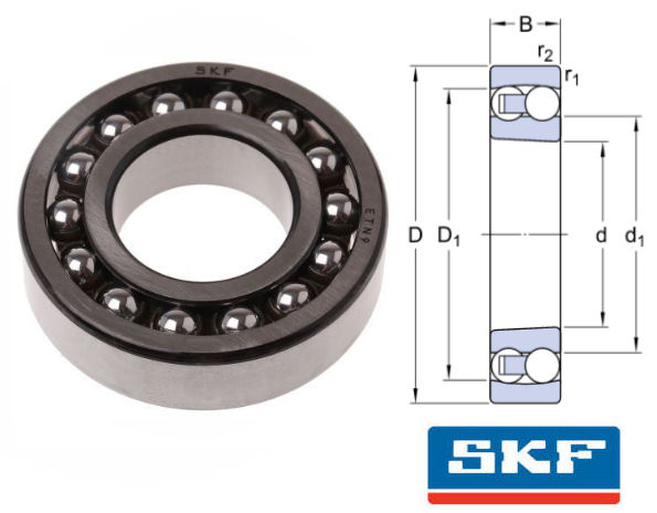 2308EKTN9 SKF Self Aligning Ball Bearing with Tapered Bore 40x90x33mm image 2