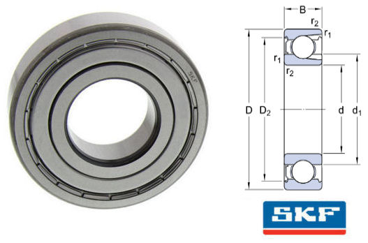 206-Z SKF Shielded Deep Groove Ball Bearing with Filling Slots 30x62x16mm image 2