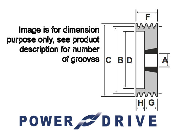 SPA170-2 170mm Pitch Diameter 2 Groove Tapered Bush V Pulley image 2
