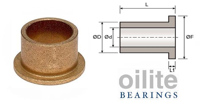 AL0408-04 Flanged Oilite Bearing 4x8x4mm image 2