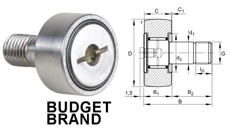 KR22 Budget Brand Cam Follower 22x12x10mm M10 Thread image 2