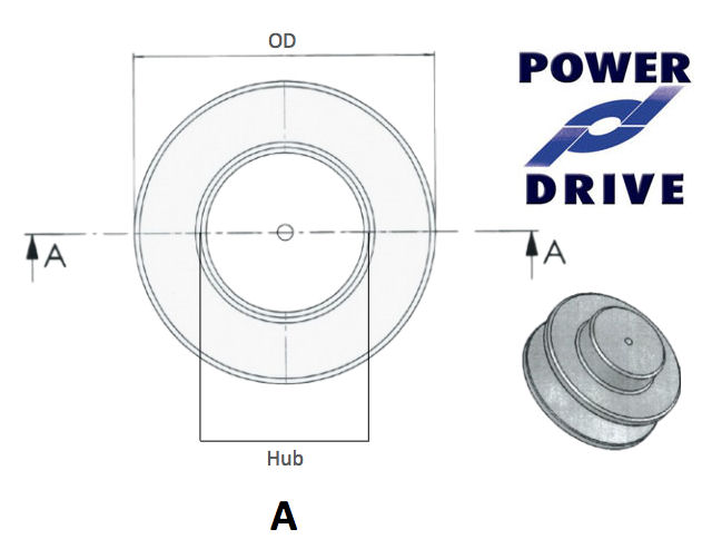 SPZ090-1 90mm Pitch Diameter 1 Groove Blank Bored Aluminium Pulley image 2