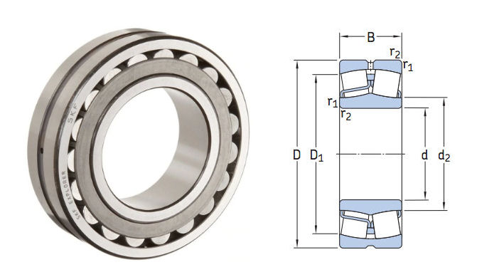22216E SKF Spherical Roller Bearing with Cylindrical Bore 80x140x33mm image 2