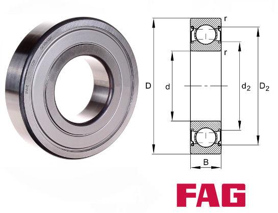 FAG 6307-2ZR.C3 Deep Groove Ball Bearing 35x80x21mm Metal Shielded FACTORY NEW
