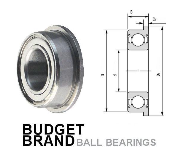 F691X-2Z Budget Brand Flanged Shielded Deep Groove Ball Bearing 1.5x5x2.6mm image 2