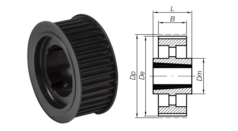 112-5M-15 Timing Pulley with Taper Bore 112 Teeth 5mm Pitch 15mm Wide image 2