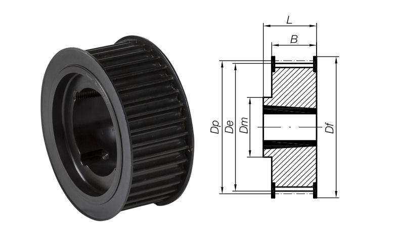 44-8M-20 Timing Pulley with Taper Bore 44 Teeth 8mm Pitch 20mm Wide image 2