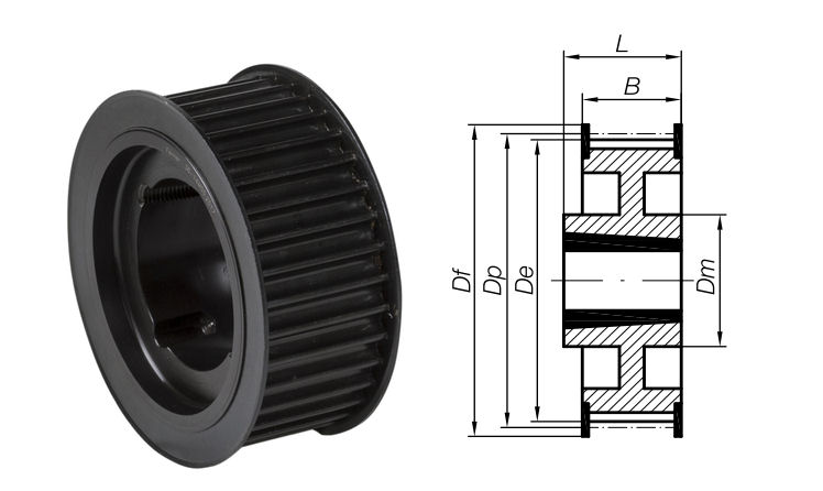 64-8M-20 Timing Pulley with Taper Bore 64 Teeth 8mm Pitch 20mm Wide image 2