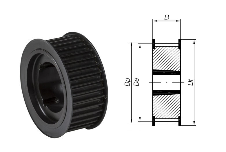 34-8M-30 Timing Pulley with Taper Bore 34 Teeth 8mm Pitch 30mm Wide image 2