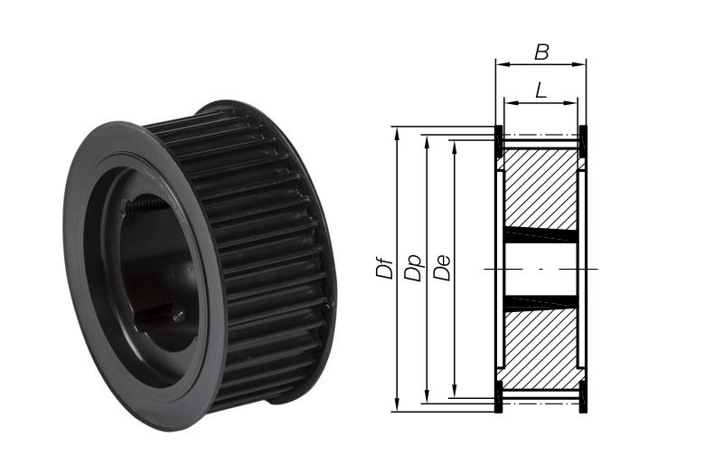 28-8M-50 Timing Pulley with Taper Bore 28 Teeth 8mm Pitch 50mm Wide image 2