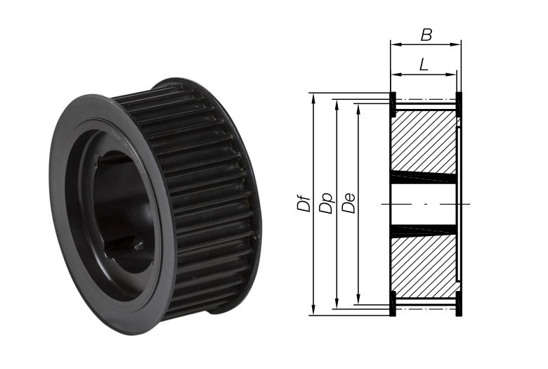 32-8M-50 Timing Pulley with Taper Bore 32 Teeth 8mm Pitch 50mm Wide image 2